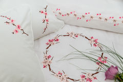 Embroidered bedding Stock Photography