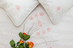 Embroidered bedding Stock Images