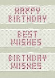 Embroidered best birthday wishes set Stock Photo
