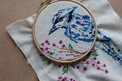Embroidered blue bird in the Hoop Royalty Free Stock Image