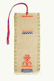 The embroidered bookmark for the book. The embroidered linen bookmark for the book. A national embroidery of Russia Royalty Free Stock Photography