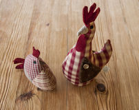 Embroidered chickens Stock Photography