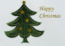 Embroidered Christmas tree background Stock Image