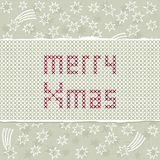 Embroidered christmas wishes on white stars Royalty Free Stock Images
