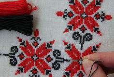 Embroidered cloth ornaments. In red - black colors of thread for embroidery floss Stock Image