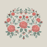 Embroidered composition with roses flowers, buds and leaves. Satin stitch embroidery floral design on beige background Stock Photos
