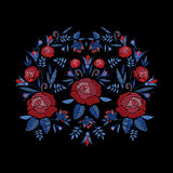 Embroidered composition of roses flowers, buds and leaves. Satin stitch embroidery floral design on black background. Folk line trendy pattern for clothes Royalty Free Stock Photography
