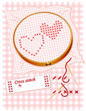 Embroidered Cross Stitch Hearts Stock Images