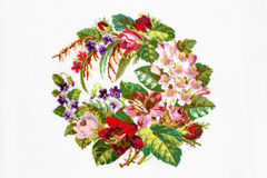 Embroidered by cross-stitch pattern Stock Photos