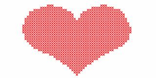 Embroidered by cross stitch,red heart on white background.Illustration royalty free illustration