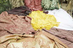 Embroidered Fabrics. Embroidered tablecloths and fabrics in clothing store, decoration Royalty Free Stock Images