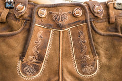 Embroidered flap & x28;drop front& x29; of traditional austrian lederhosen Royalty Free Stock Photo