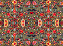 Embroidered floral pattern on the fabric Royalty Free Stock Images