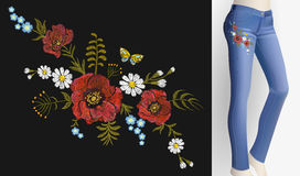 Embroidered flower patch rose poppy daisy herbs. Women slim jeans pair decoration floral ornament print sticker Royalty Free Stock Photos