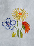 Embroidered flowers Royalty Free Stock Photography