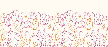 Embroidered flowers horizontal seamless pattern Stock Image