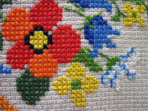 Embroidered flowers Stock Images