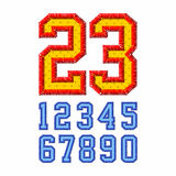 Embroidered font numbers Stock Photos