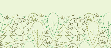 Embroidered forest horizontal seamless pattern Stock Images
