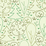 Embroidered forest seamless pattern background Royalty Free Stock Images