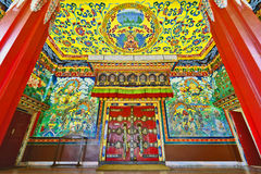 Embroidered gate of Kopan Monastery in Kathmandu. Embroidered main gate of Kopan Monastery temple in Kathmandu Stock Photography