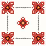Embroidered good like handmade cross-stitch folks. Romanian pattern Stock Illustration