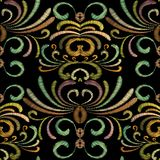 Embroidered grunge ornaments. Tapestry flowers design Stock Image
