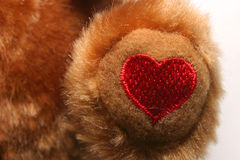Embroidered Heart. A Heart Embroidered on the Foot of a Stuffed Animal Royalty Free Stock Photos
