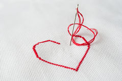 Embroidered heart, closeup Royalty Free Stock Image