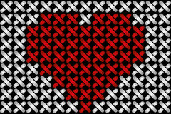 Embroidered heart illustration. With red heart in cross-stiches on black vector illustration