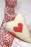Embroidered heart and ribbon Royalty Free Stock Image