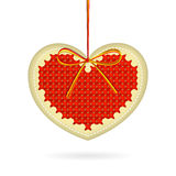 Embroidered heart on thread Royalty Free Stock Photo