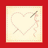 Embroidered hearts Royalty Free Stock Images