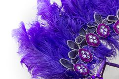 Embroidered helmet with stones and feathers for carnival. Helmet headband and backs embroidered with stones and feathers for carnival stock image