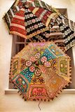 Embroidered indian umbrellas texture royalty free stock photography