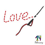 Embroidered inscription is love with needle and thread Royalty Free Stock Photography