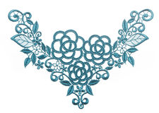 Embroidered lace trim over white Stock Photos