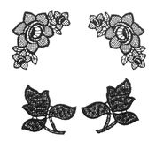 Embroidered lace trim over white Royalty Free Stock Images