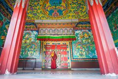 Embroidered main gate of Kopan Monastery temple in Kathmandu Stock Photo