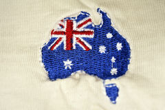 Embroidered map of australia Stock Images