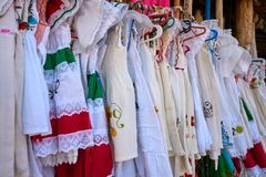 Embroidered Mayan dresses in Mexico. Riviera Maya stock photo