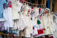Embroidered Mayan dresses in Mexico. Riviera Maya stock photos