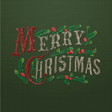 Embroidered Merry Christmas card Royalty Free Stock Image