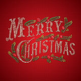 Embroidered Merry Christmas card Royalty Free Stock Photo
