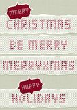 Embroidered Merry Christmas wishes set Royalty Free Stock Photography