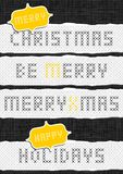 Embroidered Merry Christmas wishes seton dark Royalty Free Stock Images