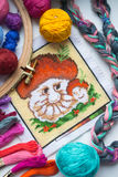 Embroidered mushroom with yarn for colour knitting and tambour Stock Photo