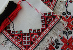 Embroidered napkins ornaments. In red black colors Stock Image