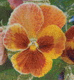 Embroidered pansy Stock Photo
