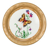 Embroidered Picture In The Frame Stock Images